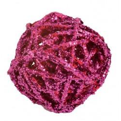 boule de rotin pailletée fuchsia