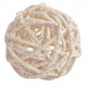 Assortiment de boules de rotin pailletées blanc 4, 5 et 7 cm