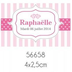 Lot de 40 Stickers personnalisables baptême fille rayés fuchsia (4cm x 2.5cm)