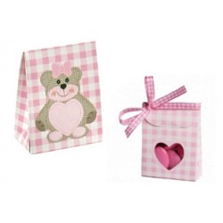 Lot de 10 sachets dragées Teddy rose