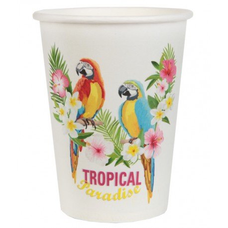 10 gobelets carton Tropical Paradise
