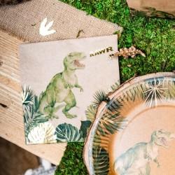 16 serviettes   dinosaure party